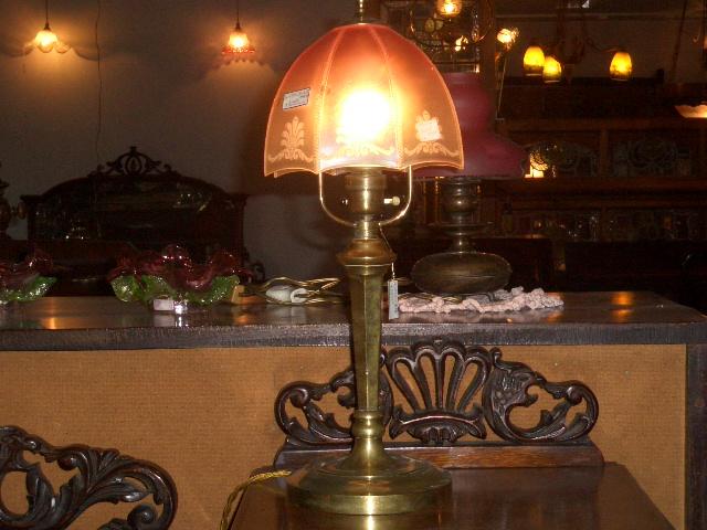 ランプ スタンド 真鋳 &シェード(No.340) アンティーク ランプ(すでに組み合わせられている照明)