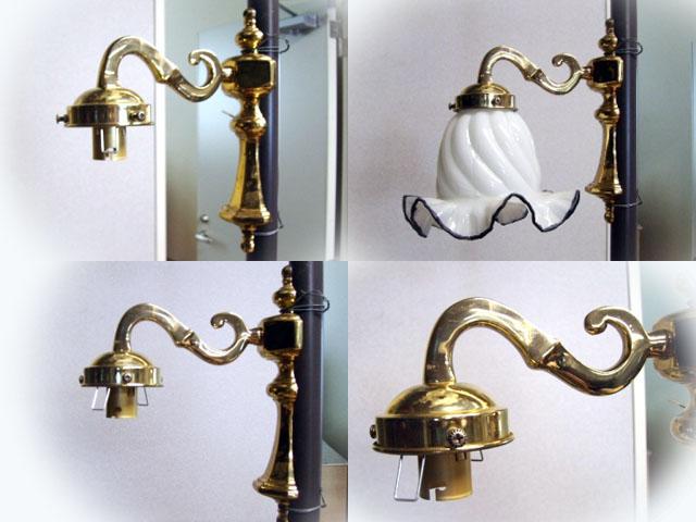 ウォールランプ ブラケット 真鋳 New(レプリカ) 1本(シェードつき) アンティーク ランプ(すでに組み合わせられている照明)