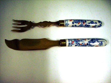 ナイフ&フォーク セット 陶器ハンドル(6) アンティーク カトラリー