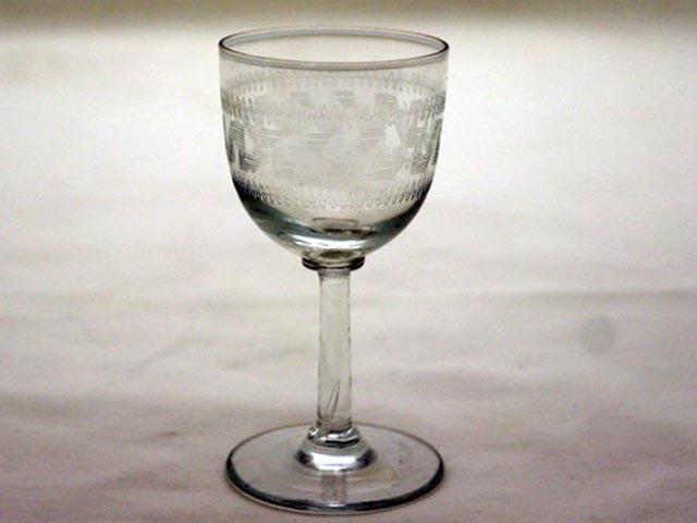 ワイングラス keyパターン (5客セット) アンティーク クリアー系