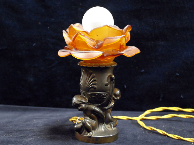 スタンドランプ オレンジバラ1灯 アンティーク ランプ(すでに組み合わせられている照明)