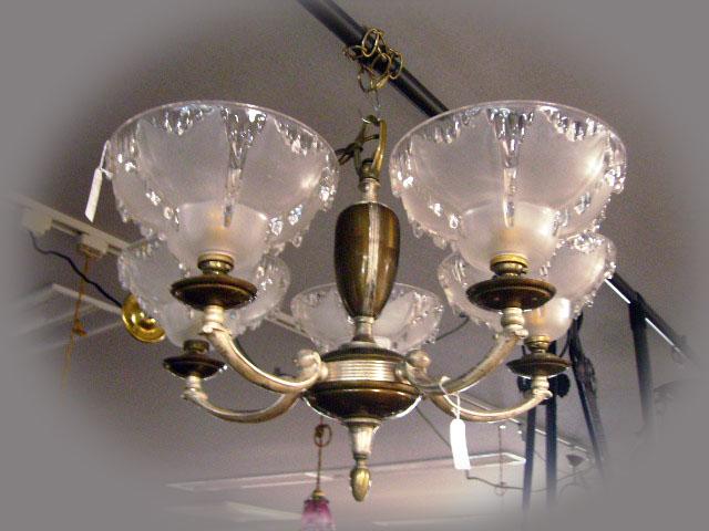 5灯 シャンデリア (3600 シェード 5個付き) アンティーク シャンデリア・ハンギングランプ