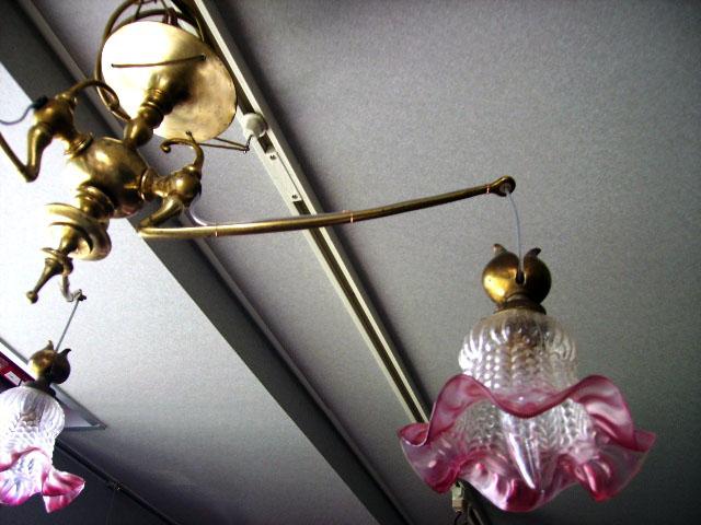 3灯 シャンデリア (338・339・3212 シェード付き) アンティーク シャンデリア・ハンギングランプ