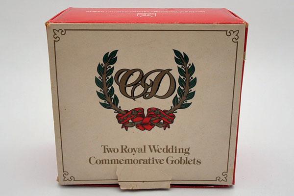 英国王室 ウェディング ゴブレット ペア(1981年) 箱入り 未使用 アンティーク 英国王室グッズ