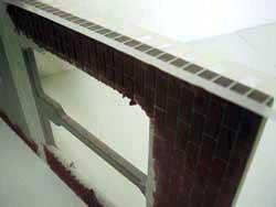 ドールハウス用ステンシルの上から外壁材を塗る4