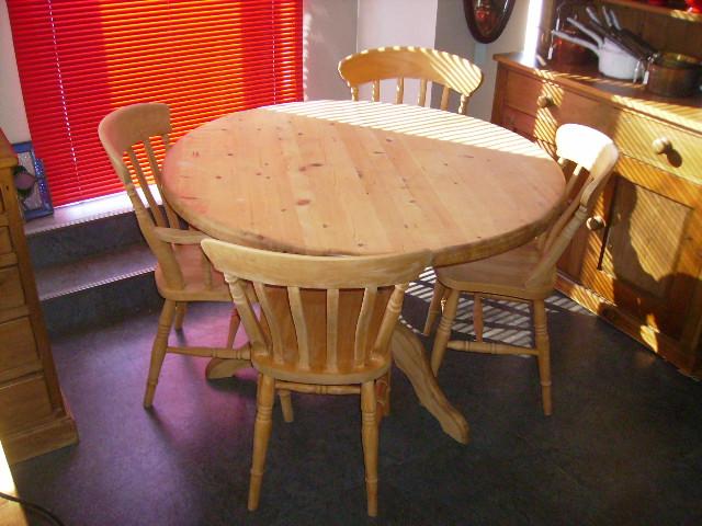 パイン テーブル+4脚イス セット