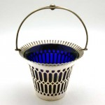 アンティーク ブリストルガラス/シルバープレート シュガーボール
