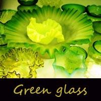 アンティーク・ガラス グリーン・ブルー系
