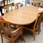 ミッドセンチュリー テーブル+イス6脚付き セット