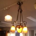 アールヌーボー様式 シャンデリア小3灯+大1灯 デュゲ