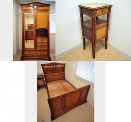 アンティーク ワードローブ&ベットサイドテーブル&ベッド セット商品